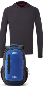 Gill Mens UV Tec Hoody Charcoal & Transit 25L Backpack Blue Package Deal