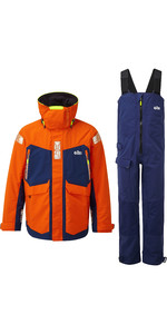 2020 Gill OS2 Mens Offshore Jacket & Trouser Combi Set - Tango / Blue