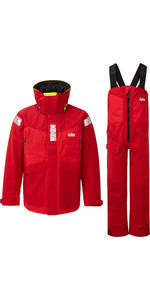 2020 Gill OS2 Mens Offshore Jacket & Trouser Combi Set - Red