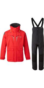 2020 Gill Os3 Hommes Coastal Veste Et Pantalon Combi - Rouge Vif / Graphite