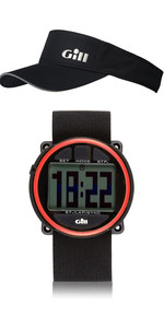 Gill Regatta Race Timer Watch & Regatta Visor Package Deal Black