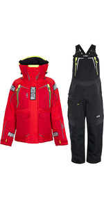 2020 Gill Womens OS1 Offshore Ocean Jacket & Trouser Combi Set - Red / Graphite