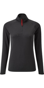 2019 Gill Womens UV Tec Zip Neck Top Charcoal UV009W