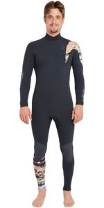 2018 Billabong Furnace Carbon Comp 4 / 3mm Chest Zip Traje de buceo Grafito L44M02