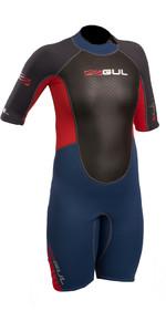 2020 Gul Response Junior 3/2mm Shorty Wetsuit Blau / Graphite Re3322-b4