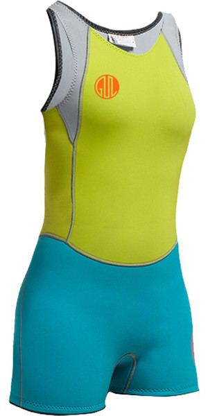 Gul Womens Surflite 3mm Flatlock Short Jane LIME / CYAN SL5301-A7