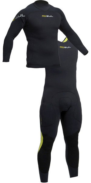 2019 Gul Code Zero 3mm manica lunga Thermo Top e Long John Combi Set nero