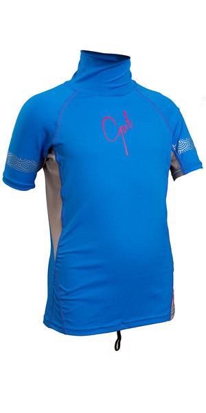 2019 Gul Junior Girls Short Sleeve Rash Vest Blå / Sølv RG0345-B4