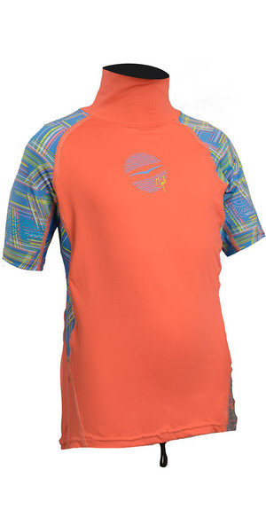 2018 Gul Junior Girls Short Sleeve Rash Vest Coral / Righe RG0345-B4