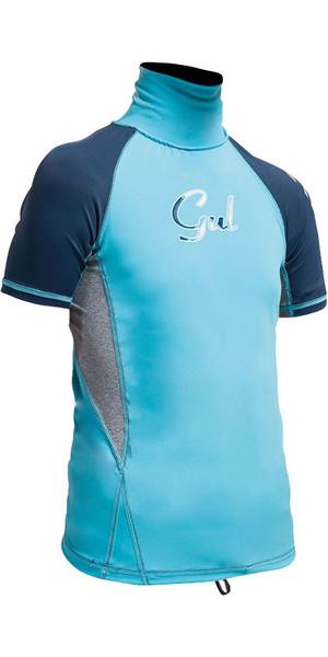 Gul Junior Surf Short Sleeve Rashguard Turquiose / Navy RG0345-A9