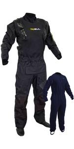 2021 Gul Traje Seco Elástico Con Cremallera En U Code Zero Drysuit Con Cremallera Y Forro Polar Gm0368-b8 - Negro