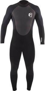 2021 Gul Mens G-Force 3mm Back Zip Flatlock Wetsuit GF1305-B7 - Black