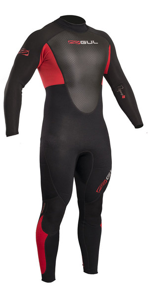 2018 Gul Response 3/2mm Flatlock Back Zip Wetsuit Black / Red RE1321-B4