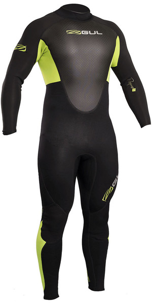 2018 Gul Response 3 / 2mm Flatlock Back Zip Wetsuit Negro / Lima RE1321-B4