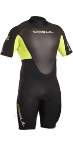 2020 Gul Response 3/2mm Back Zip Shorty Wetsuit Black / Lime RE3319-B4