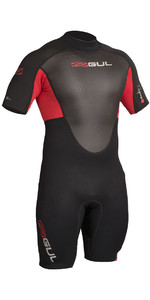 2019 Gul Response 3/2 mm Retour Zip Shorty Wetsuit Noir / Rouge RE3319-B4