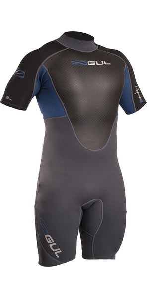 2018 Gul Response 3/2mm Back Zip Shorty Wetsuit Blue / Graphite RE3319-B4