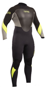 Gul Response 3/2mm Back Zip Gbs Wetsuit Zwart / Limoen RE1231-B4 2019