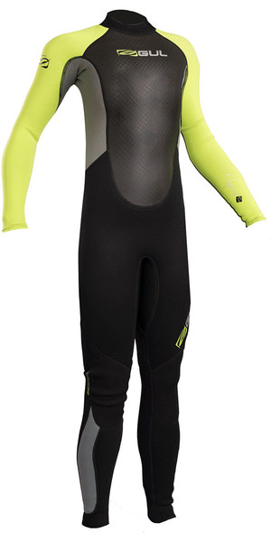 2018 Gul Response Junior 3 / 2mm Flatlock Wetsuit Negro / Lima RE1322-B4