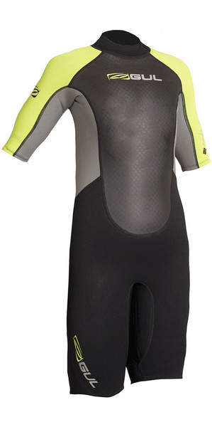 2018 Gul Response Junior 3/2mm Shorty Wetsuit Black / Lime RE3322-B4