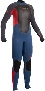 2019 Response Gul Júnior 3/2mm Flatlock Wetsuit Azul / Graphite Re1322-b4