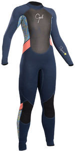 2019 Gul Response Junior Girls 3 / 2mm Flatlock Wetsuit Navy / Lines RE1323-B4