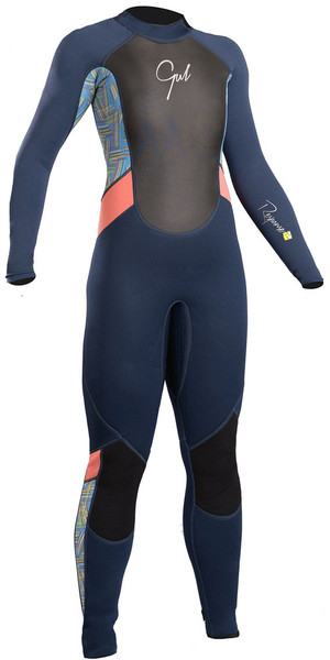 2018 Gul Response Junior Girls 3 / 2mm Flatlock Wetsuit Azul marino / Líneas RE1323-B4