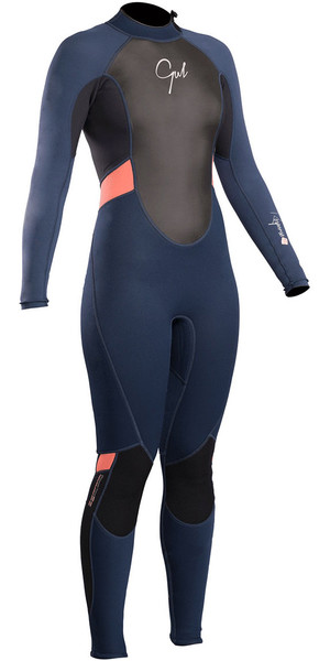 2018 Gul Response Womens 3 / 2mm Flatlock Back Zip Wetsuit Azul marino / negro RE1319-B4