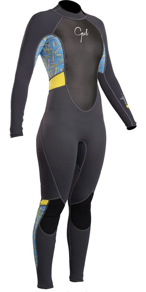 2019 Gul Response Women 3 / 2mm Flatlock Back Zip Wetsuit Graphite Lines RE1319-B4