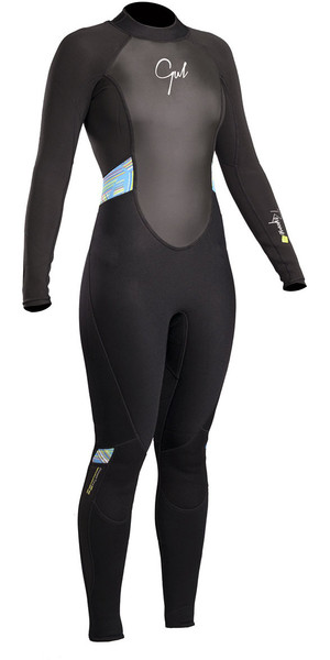 2018 Gul Response Womens 3 / 2mm Flatlock Back Zip Wetsuit Negro / Líneas RE1319-B4