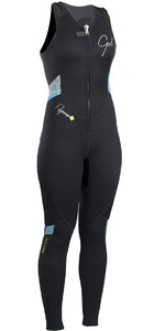 2020 Gul Response Womens 3mm Flatlock Long Jane Wetsuit BLACK / Lines RE4314-B4