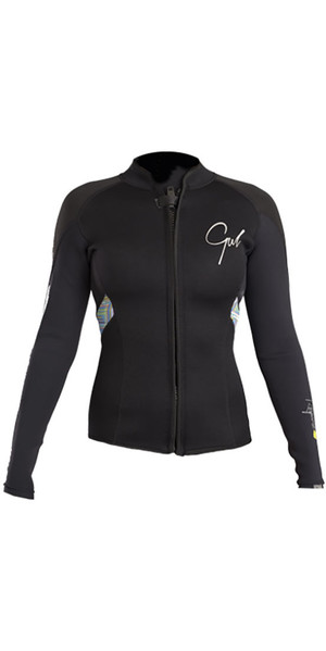 2019 Gul Response Womens 3mm Bolero Wetsuit Jakke Sort / Lines RE6305-B4