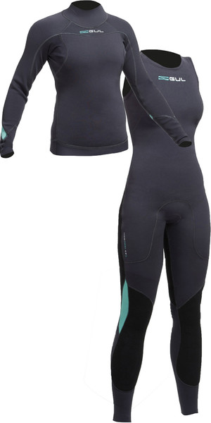 2019 Gul Womens Code Zero 3mm Long Sleeve Thermo Top & Long John Combi Set JET
