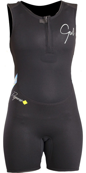 2018 Gul Response Womens 3 / 2mm Flatlock Short Jane Wetsuit NEGRO / Líneas RE5306-B4