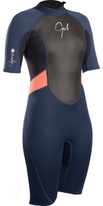 2019 Gul Womens Response 3/2mm Back Zip Shorty Wetsuit Navy / Black RE3318-B4