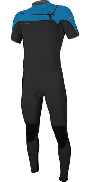 2018 O'Neill Hammer 2mm Chest Zip Short Sleeve Wetsuit BLACK / OCEAN 5056