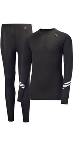 2019 Helly Hansen Junior Lifa Active Thermal Basisschicht Set Schwarz 26665