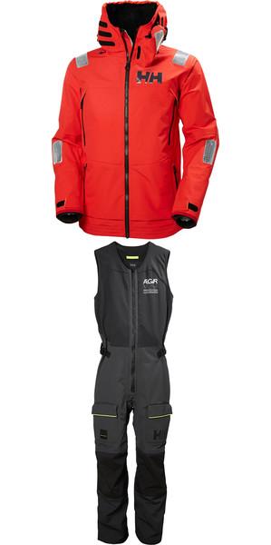 2018 Helly Hansen Aegir Race Jacket 33869 y Salopette 33871 Combi Set Red / Ebony