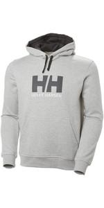2019 Helly Hansen HH Logotipo Moletom Com Capuz Cinza Melange 33977