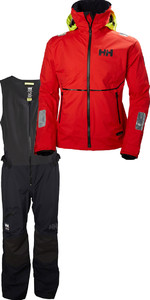 Helly Hansen Mens Giacca HP in lamina e salopette Combi Set - Alert Red / Black