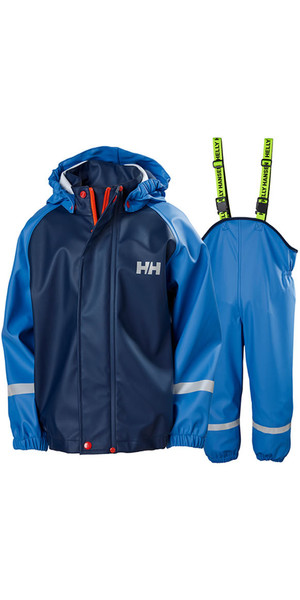 2018 Helly Hansen Junior Bergen PU Chaqueta y pantalón de lluvia Set Blue Water 40360