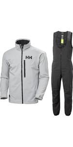 2020 Helly Hansen Mens HP Racing Jacket & Midlayer Salopettes Combi Set - Grey Fog / Ebony