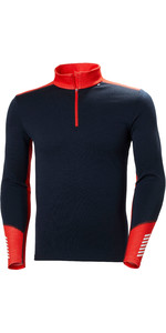 Helly Hansen Lifa Merino Top 1/2 Zip Da Uomo Di Peso Medio 49363 = Navy Scuro