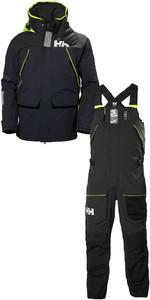 2019 Helly Hansen Skagen Giacca Offshore Da Uomo Skagen E Set Di Pantaloni Combinati Hhmskn - Navy Scuro / Ebano