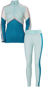 2019 Helly Hansen Donna Hh Lifa 1/2 Zip Merino Set Combi Set - Tinta Blu Melange
