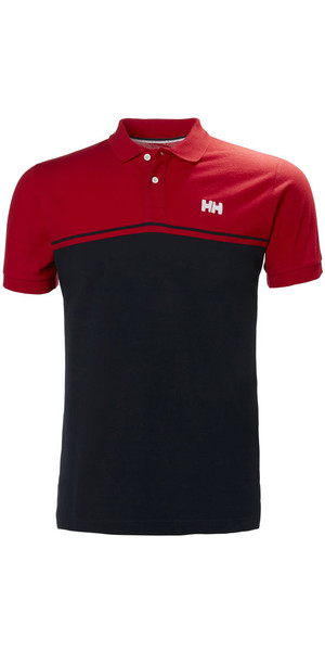2018 Helly Hansen Salt Polo Shirt Drapeau Rouge 33939