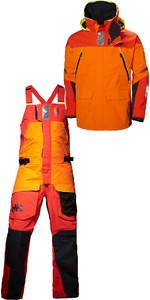 2019 Helly Hansen Skagen Offshore Jacket 33907 y Pantalón 33908 Combi Set Blaze Orange