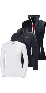 Helly Hansen Damen Crew Weste, Daybreaker Fleece & Tech Langarm Base Layer Paket