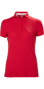 2019 Helly Hansen Womens Crewline Polo Shirt Flag Red 53049