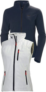Helly Hansen Delle Donne Daybreaker Giacca In Pile & Crew Giubbotto Package Deal Graphite Blu / Bianco